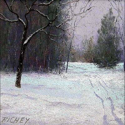 Trees In A Winter Fog Print by Bob Richey