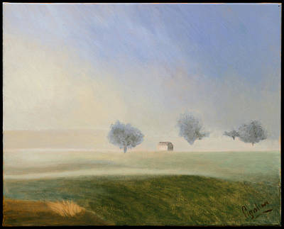 Trees In The Mist Print by Gloria Cigolini-DePietro