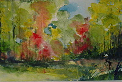 Arkansas Painting - Trees In The Woods by Robin Miller-Bookhout