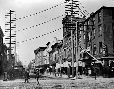 Telephone Poles Photograph - Trenton Street Scene, Trenton, New by Everett