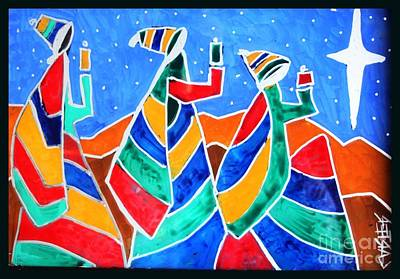 Reverse On Glass Painting - Tres Amigos by David Carter