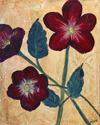 Tres Fleurs Print by Maureen House