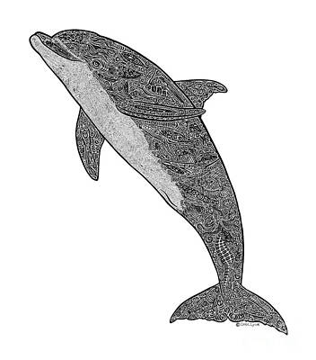Dolphin Drawing - Tribal Bottle Nose Dolphin  by Carol Lynne
