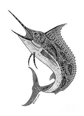 Scuba Diving Drawing - Tribal Marlin by Carol Lynne