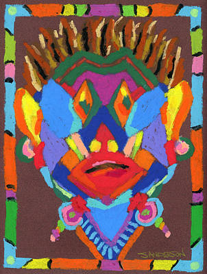 Contemporary Tribal Art Painting - Tribal Mask by Stephen Anderson