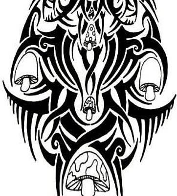Counterculture Drawing - Tribal Mushroom by Andrew Padula