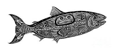 Salmon Drawing - Tribal Salmon by Carol Lynne