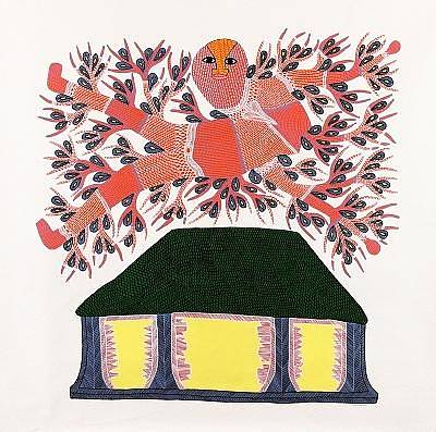 Gond Art Gallery Painting - Tribal Scene Rsu 18  by Ram Singh Urevti
