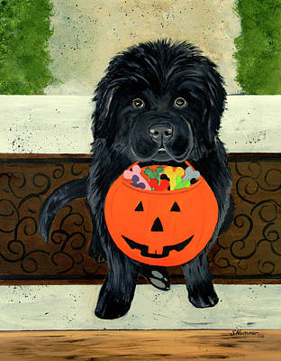 Newfie Painting - Trick Or Treat by Sharon Nummer