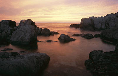 Trinity Bay And Large Rocks At Twilight Print by Michael S. Lewis