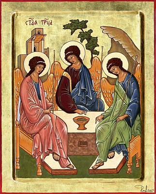 Russian Icon Painting - Trinity by Raffaella Lunelli