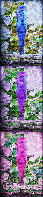 Triptych Cobalt Blue Purple And Magenta Bottles Triptych Vertical Print by Andee Design
