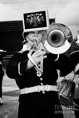 trombone player of the band of HM Royal Marines Scotland at Armed Forces Day 2010 Print by Joe Fox