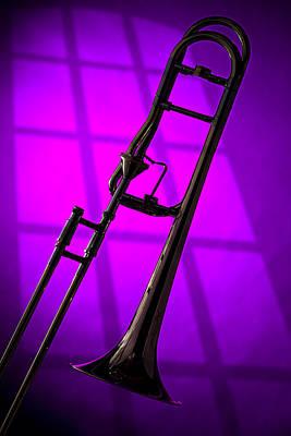 Trombone Silhouette On Purple Print by M K  Miller