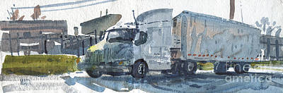 Trailer Painting - Truck Panorama by Donald Maier