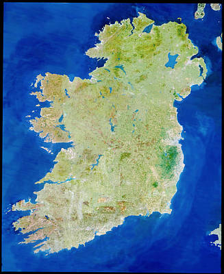 True-colour Satellite Image Of Ireland Print by Planetobserver