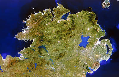 True-colour Satellite Image Of Ulster, Ireland Print by Planetobserver