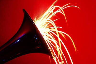 Trumpet Photograph - Trumpet Shooting Sparks by Garry Gay