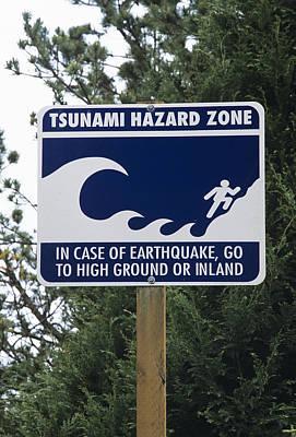 Tsunami Warning Sign Print by Alan Sirulnikoff