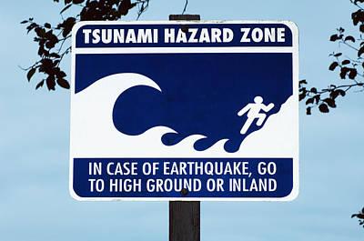 Tsunami Warning Sign Print by Georgette Douwma