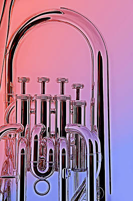 Bass Photograph - Tuba Euphonium Valves Isolated by M K  Miller