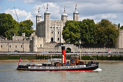 London Skyline Photograph - Tug And The Tower by Dawn OConnor