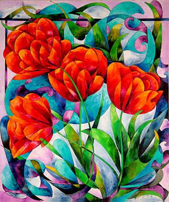 Tulip Quartet Print by Sherry Shipley