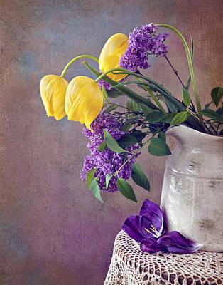 Tulips And Lilac Still Life Print by Cheryl Davis