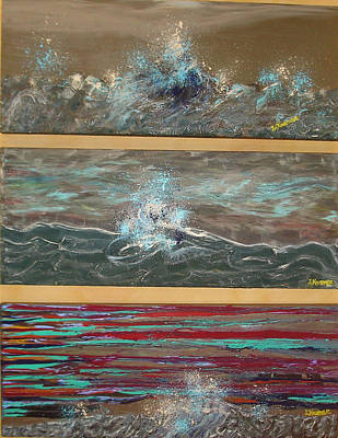 Turbulent Skies Mixed Media - Turbulent Muse Tryptic by Lisa Kramer