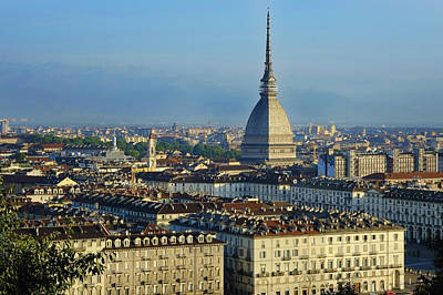 Turin, Cityscape With The Mole Antonelliana Print by Bruno Morandi