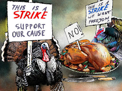 Turkey Digital Art - Turkey Strike by Miki De Goodaboom