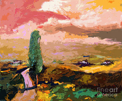 Italian Landscape Mixed Media - Tuscany Pink Sky Abstract Landscape by Ginette Callaway