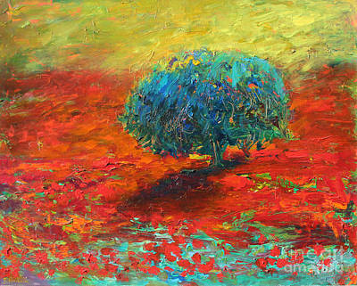 Poppies Drawing - Tuscany Poppy Field Tree Landscape by Svetlana Novikova