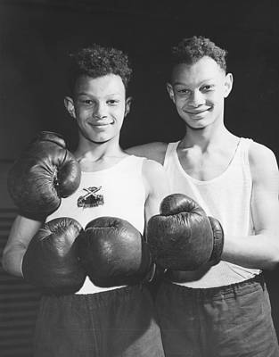 Boys Boxing Photograph - Twins In Boxing Gear by Harry Todd