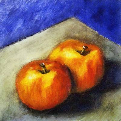 Closeup Print featuring the painting Two Apples With Blue by Michelle Calkins