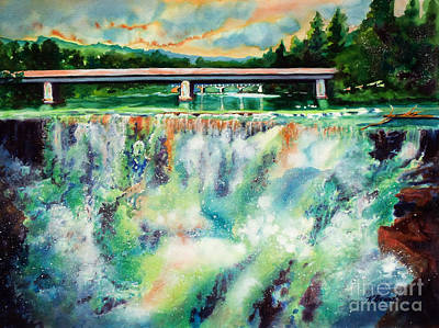 Waterfalls Mixed Media - Two Bridges And A Falls 2          by Kathy Braud