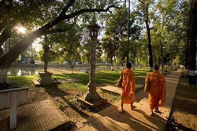 Two Buddhist Monks Walk Along The Siem Print by Michael S. Lewis