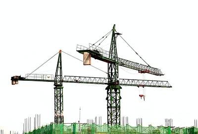 Netting Photograph - Two Cranes On A Construction Site by Yali Shi