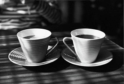Alcoholic Beverages Photograph - Two Cups Of Coffee In Sunlight by Breeze.kaze