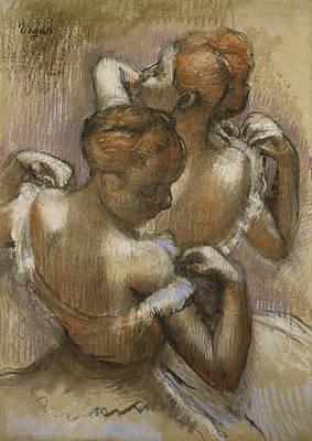 Two Dancers Adjusting Their Shoulder Straps Print by Edgar Degas