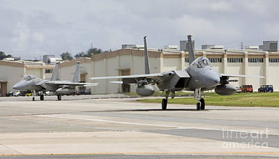 On The Runway Photograph - Two F-15s Taxi To The End Of Runway by HIGH-G Productions
