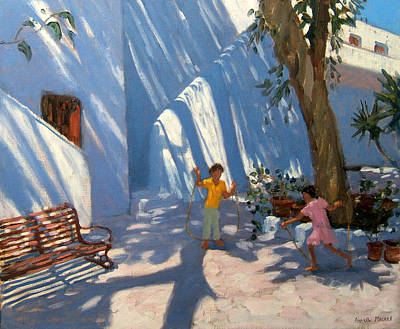Park Benches Painting - Two Girls Skipping Mykonos by Andrew Macara