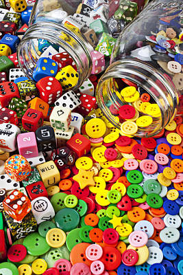 Two Jars Dice And Buttons Print by Garry Gay