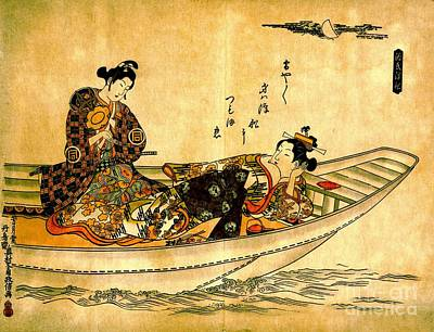 Two Lovers In Boat 1742 Print by Padre Art