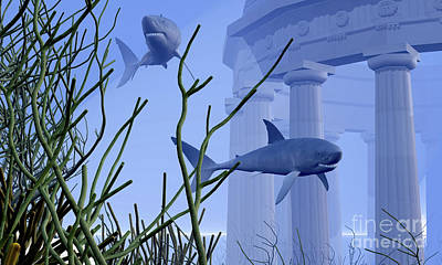 Two Fish Digital Art - Two Mako Sharks Swim By An Underwater by Corey Ford