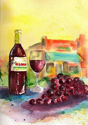 Glass Of Wine Painting - Two Mamas Gourmet Pizza by Sharon Mick