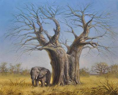 Poachers Painting - Two Old Giants by Calvin Carter