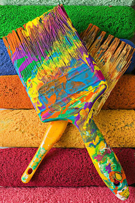 Messy Photograph - Two Paintbrushes On Paint Rollers by Garry Gay