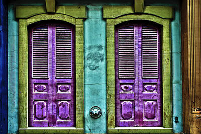 Hdr Photograph - Two Purple Doors by Keith Allen