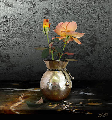 Marble Flower Vases Photograph - Two Roses In Brass Vase by IM Spadecaller